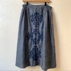 Sundance Blue Skirt with Embroidery Size Medium